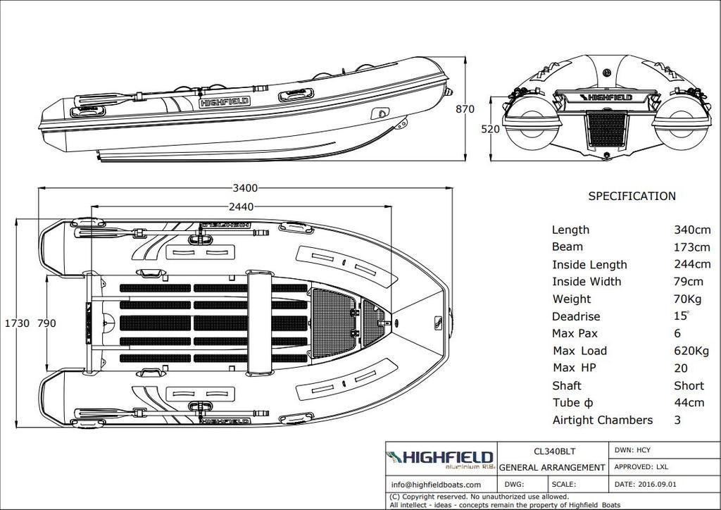 2020 Highfield boat for sale, model of the boat is CL 340 Bow Locker & Image # 9 of 9