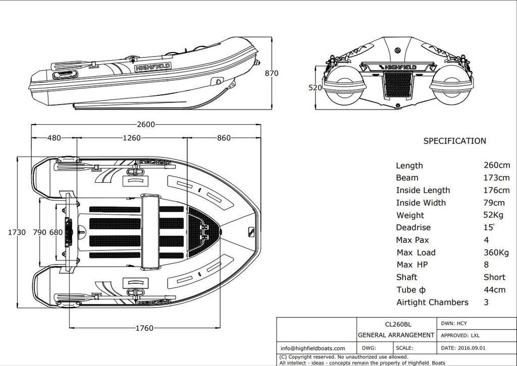 2021 Highfield boat for sale, model of the boat is CL 260 Bow Locker & Image # 4 of 4
