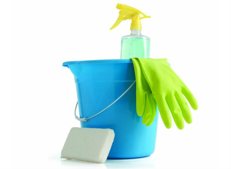 Cleaning supplies in bucket with gloves, a spray bottle, and a sponge