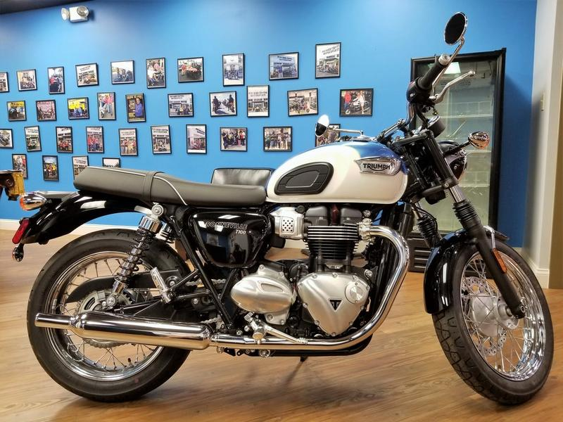 2018 Triumph Bonneville T100 Fusion White And Aegean Blue Fun Bike