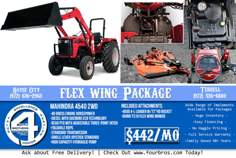 2019 Mahindra 4540 2WD TRACTOR PACKAGE WITH FLEX WING MOWER