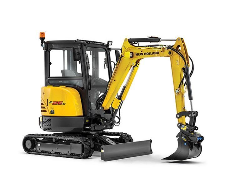 一台黄色的2016年新荷兰E35B挖掘机,背景为白色