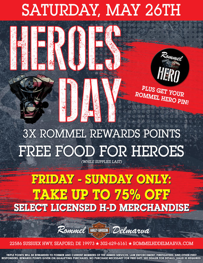 we ll also have free food and triple points plus stop by friday through sunday only for up to 75 off select h d licensed merchandise