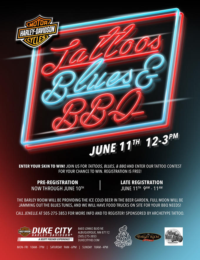 a9d2dd97c6005 ... AND WE WILL HAVE FOOD TRUCKS ON SITE FOR YOUR BBQ NEEDS! CALL JENELLE @  505-275-3853 FOR MORE INFO AND TO REGISTER! SPONSORED BY ARCHETYPE TATTOO!
