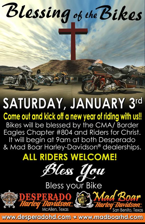 new year of riding with us bikes will be blessed by the cmaborder eagles chapter 804 and riders for christ it will begin at 9am at both desperado